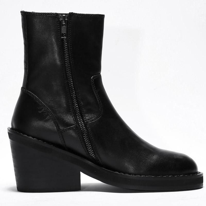 De Black Bottes Courtes Femmes Qualité Punk Chaussures Automne Cheville Bottines Confortables Haute Femme Cuir Talon Med Véritable Femelle Rwx1p