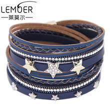 LEMOER Punk Long Multilayer Leather Bracelet for Women Men Fashion Crystal Rhinestone Stars Magnetic Wrap Bracelets Charm Bijoux(China)