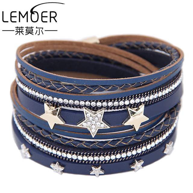 LEMOER Punk Long Multilayer Leather Bracelet for Women Men Fashion Crystal Rhinestone Stars Magnetic Wrap Bracelets Charm Bijoux