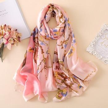2020 Luxury Brand Van Gogh Oil Painting Silk Shawl Scarf Women Apricot Floral Silk Turban