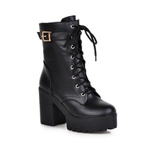 2016 New Winter Women Black High Heel Martin Boots Buckle Gothic Punk Ankle Motorcycle Combat Boots Shoes Black/Brwon 6831