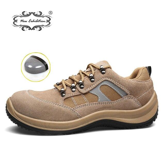 Yeni sergi Erkek Çelik Ayak Emniyet iş ayakkabısı 2019 Erkek moda ışık Üzerinde Nefes Kayma Ayakkabı Delinme Geçirmez günlük çizmeler