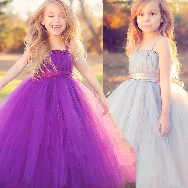 Nuevo 2016 Gris Del Bebé Del Tutú de Tul de dama de Honor Niña de las Flores de La Boda vestido vestido de Bola Esponjosa EE. UU. Cumpleaños de Noche de Baile Partido Paño vestido