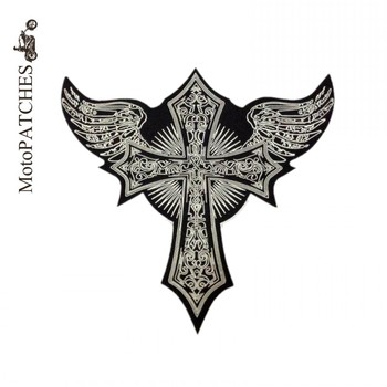 Embroidery Patch Skull Cross Wing Angel Motorcycle Patch Handmade Embroidered Iron On Patches Applique Back Patches For Jackets Мотоцикл