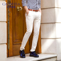 CAIZIYIJIA Summer 2017 Men's White Slim Fit Straight Leg Casual Pants Flat-Front Flowers Spliced Mid-waist Cotton Brand Trouser