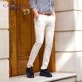 Caiziyijia verão branco 2017 dos homens slim fit perna reta calça casual flat-front flores emendado mid-cintura marca de calças de algodão