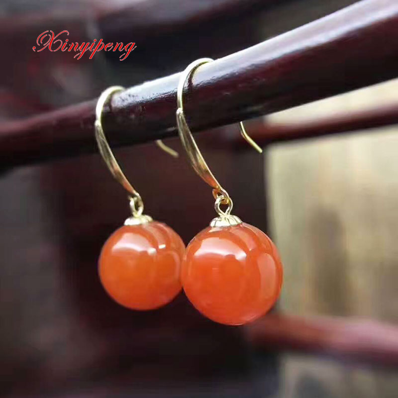 Xinyipeng 18 k gold inlaid natural agate earrings Female eardrop Red agate Simple and easy jewelry His girlfriend holiday giftsXinyipeng 18 k gold inlaid natural agate earrings Female eardrop Red agate Simple and easy jewelry His girlfriend holiday gifts