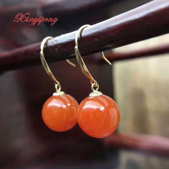 Xinyipeng 18 k gold inlaid natural agate earrings Female eardrop Red agate Simple and easy jewelry His girlfriend holiday gifts