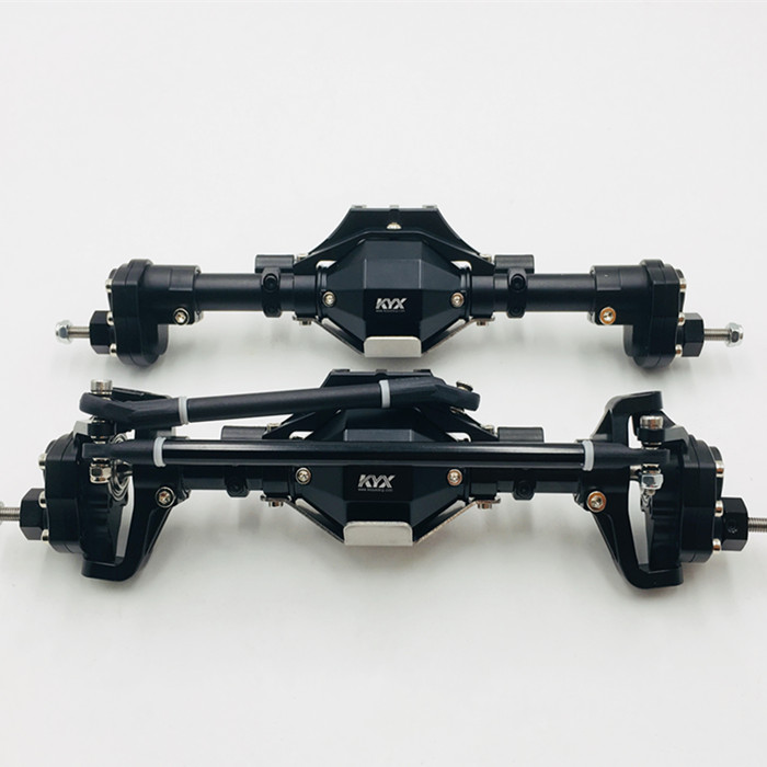 KYX Alumininum CNC widen front and rear axle for Axial SCX ll 90046 black