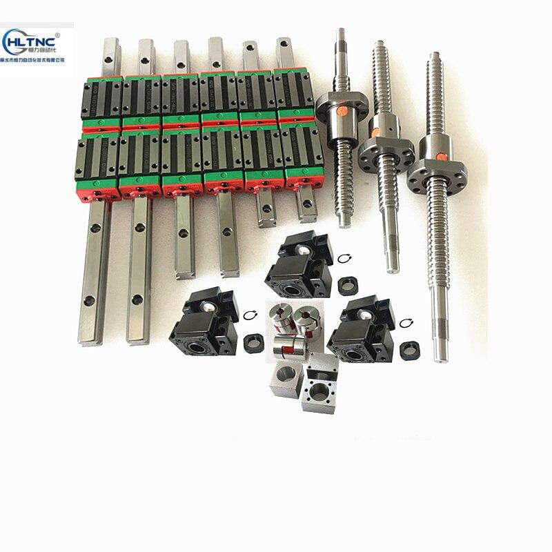 4 pièces vis à billes sfu1605-350/800/1000mm + rail linéaire HGR20-400/800/1000mm rails + 12 blocs HGH20CA + 4 BKBF12 + 4 coupleur CNC
