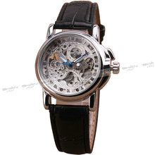 WINNER Women Vintage Automatic Mechanical Watch Leather Strap Skeleton Dial Silver Case Fashion Wristwatch Lover's Gift + BOX