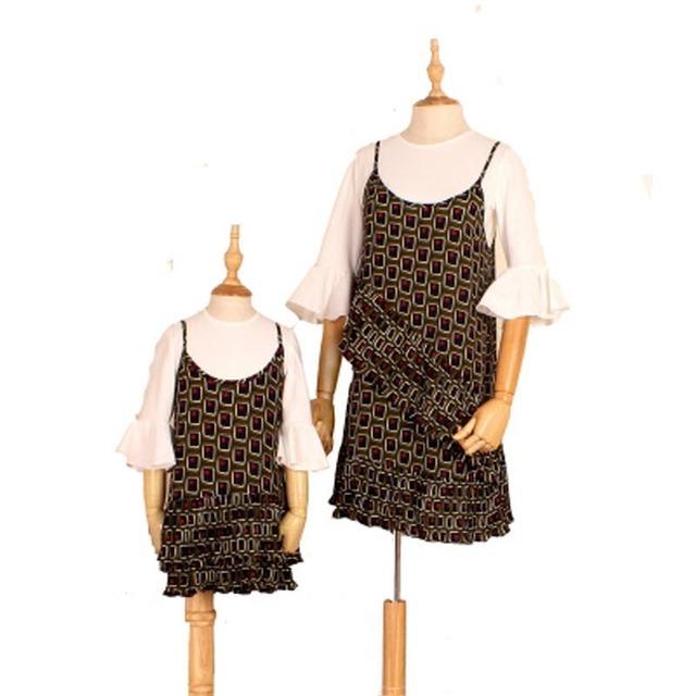 Um preço para 2 peças crianças roupas mulheres crianças meninas outfits clothing matching família mãe filha vestido de chiffon & camisa