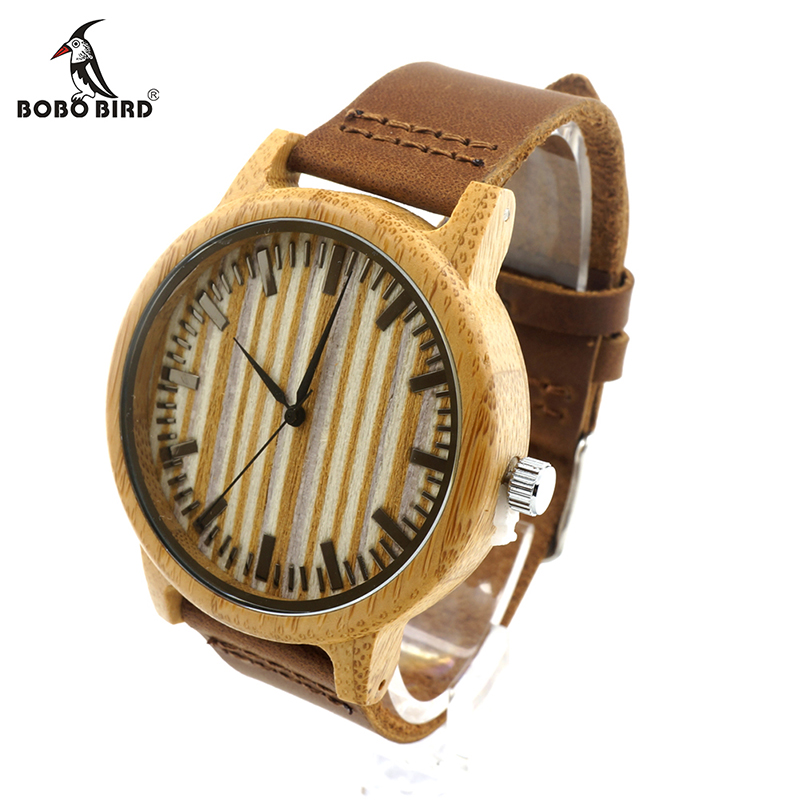 BOBO BIRD V-A20 Relojes para hombre 43mm Reloj de madera de bambú - Relojes para hombres