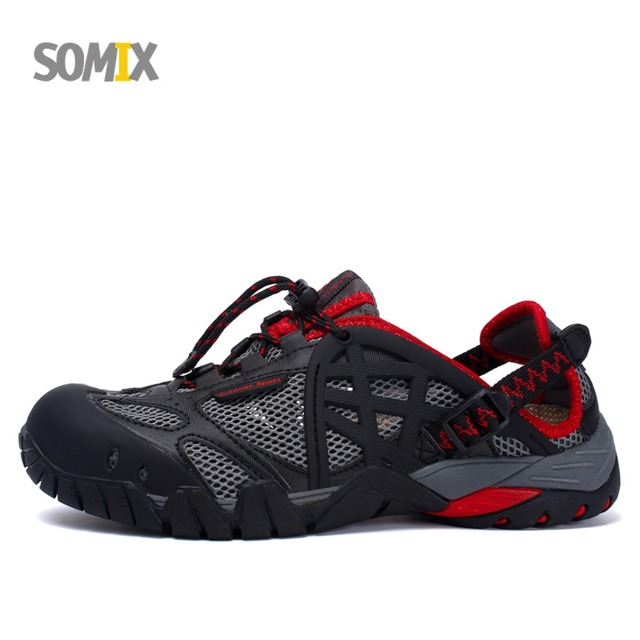 Somix 2018 Men Outdoor Sneakers Breathable Hiking Shoes Big Size Women  Outdoor Hiking Sandals Male Trekking Trail Water Sandals a944bba3d