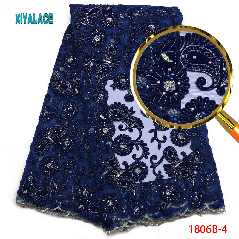 Velvet Lace Fabric With Beaded High Quality African Women Lace Fabric High Quality African Nigerian Velvet
