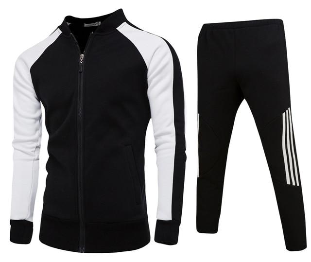 112c051202a Men s Casual Sportswear Fat Male Hoodies Tracksuit Cotton Two Piece Set  Jacket and Pants Sweat Suit