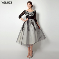 Elegant Lace Mother Of The Bride Dresses 2018 A Line 3 4 Sleeves Short Wedding Party
