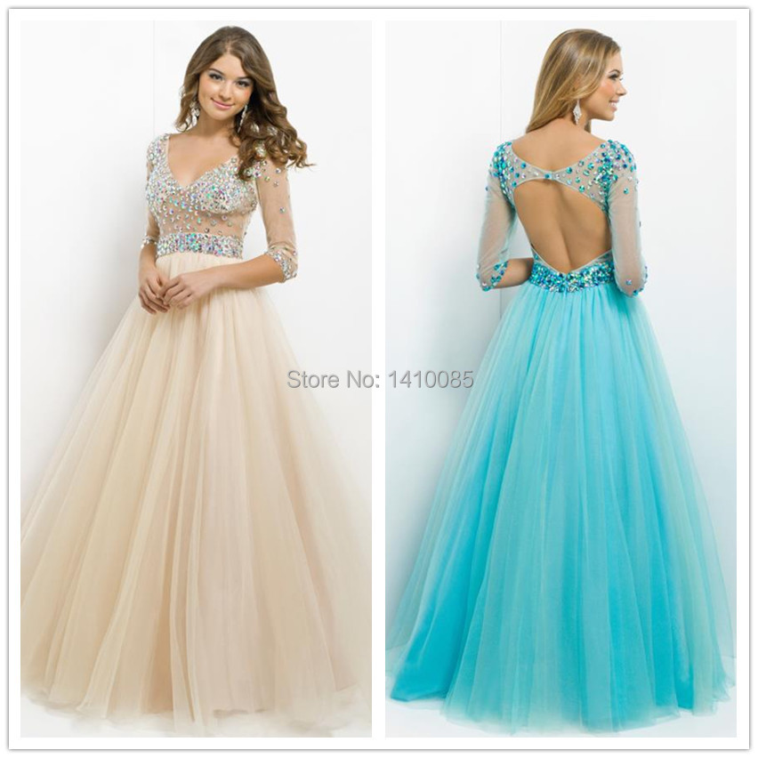 1253fc79bbfb Vestido Formatura Masquerade Gowns Floor Length Gown Elegant Long Sleeve  Crystal Beaded Prom Dress 2015 Women Pageant Dresses-in Prom Dresses from  Weddings ...