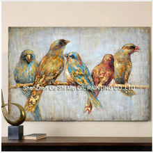 Birds On a Branch Picture Art Handmade Animal Wall Oil Painting Canvas Big Size For Home Lliving Room Bedroom Decoration