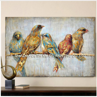 Birds On a Branch Picture Art Handmade Animal Wall Art Oil Painting Canvas Big Size For Home Lliving Room Bedroom Decoration