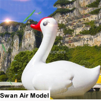 4m Height Oxford Cute Cartoon Swan Balloon Giant Inflatable Swan Model Float For Outdoor Event Water Sport Carnival Decoration