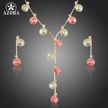 AZORA Plateado Oro Colorido Gota de Cristal Austriaco Stellux Pendientes y Collar de La Joyería Sets TG0137