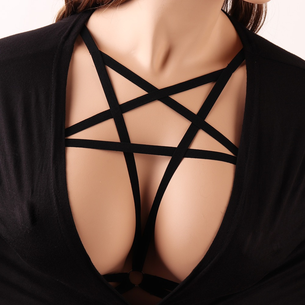 Black  Pentagram Harness Bra Harajuku Gothic Bondage Cage Bra Women Fetish Wear Crop Top Bodysuit Polyester Pentagram Bra DS008