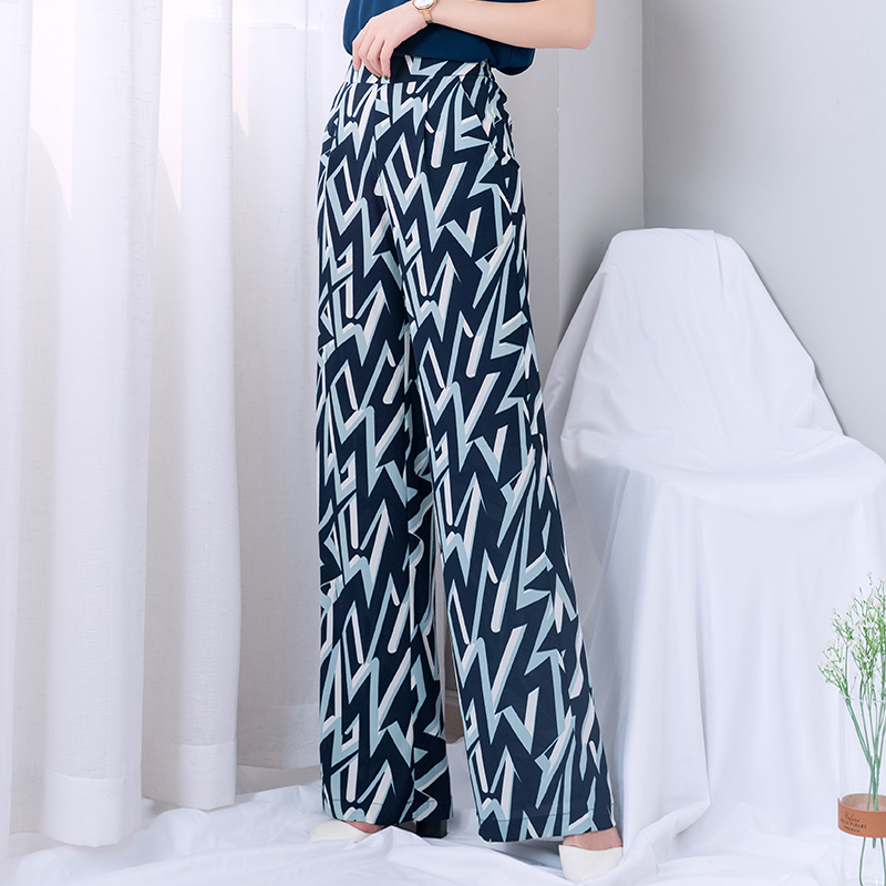 striped   wide     leg     pants   women 2019 summer thin high waist chiffon long palazzo   pants   woman plus size streetwear trousers women