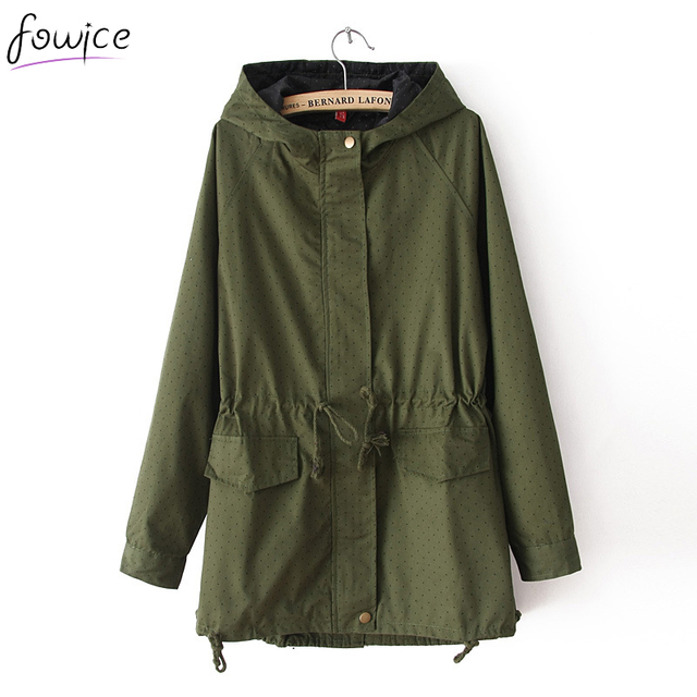 Casual Dot Print Women Spring Autumn Army Green Long Coat With Hat Sashes Windbreaker Female Loose Overcoat Cloaks for Women