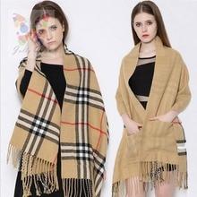 New 2016 Women Brand Pocket Tartan Tassel Cashmere Scarves Double Faced Winter Pashmina Shawl Scarf Colorful Blanket JQ7104