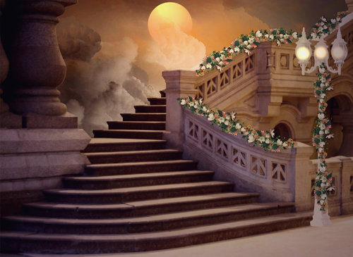 Horizontal art fabric party photography backdrops fairy tale stairs photo background for - Set video as wallpaper ...