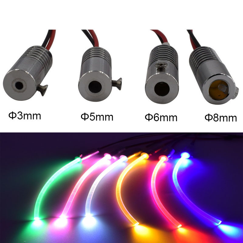 1 X High Quality DC12V Input 2W Small Size Fiber Optic Illuminator For Car Using Free Shipping
