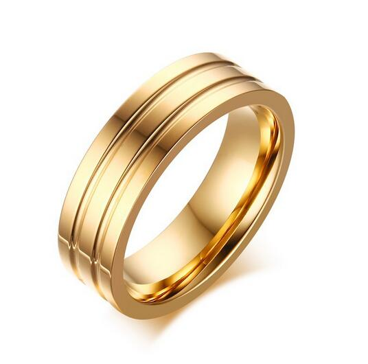 2017 new style plated gold ring custom groove stainless steel engagement rings