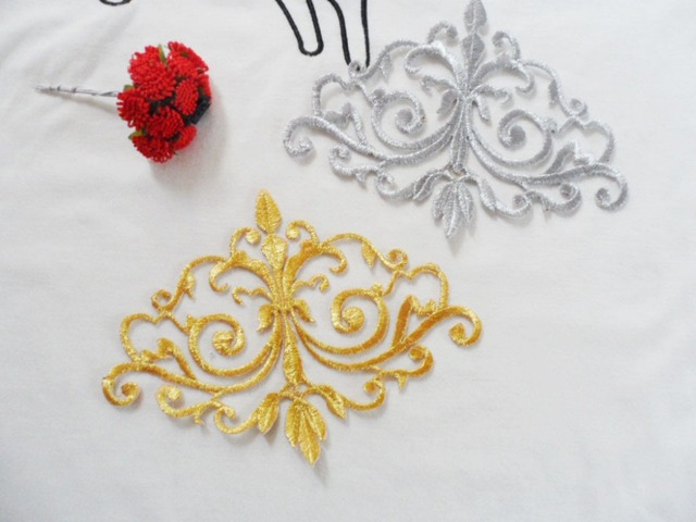 Gold&silvery embroidered shoulder patches embroidery design hollow