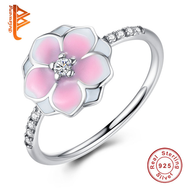 Fashion Real Magnolia Bloom,Pale Cerise Enamel Pink CZ Finger Rings Silver Jewelry for Women Gift