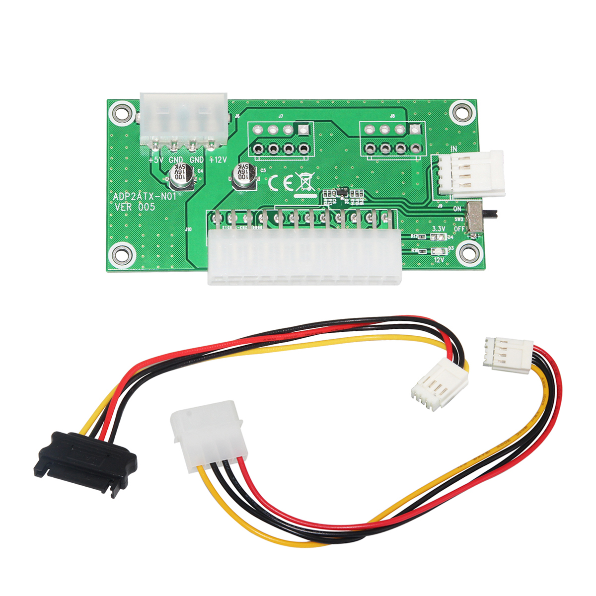 24Pin ATX PC Desktop Dual PSU Sync Starter Power Board Computer Power Supply Breakout Module Adapter 4Pin + SATA Detection Cable desktop computer power supply god 700m game power rated at 550w 12cm fan mute stable module wide voltage