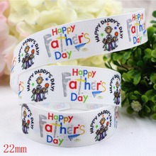 165451,(7/8″)22mm 10yard/lot father's day Ribbons Thermal transfer Printed grosgrain Wedding Accessories DIY handmade material