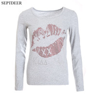 SEPTDEER New Autumn Plus Size Feminino 5xl Tops Ladies Slim Red Lips Letter Diamond Tee Long