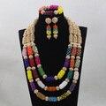 Exclusivo Conjunto de Joyería de Perlas Multicolor de Cristal Africano WD908 Dubai Chapado En Oro Nupcial Conjunto Joyería de Las Mujeres Envío Libre