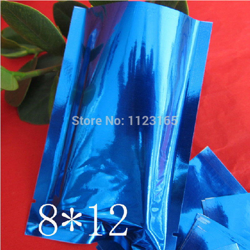 8x12cm Plain pocket, 200 x Open top Blue plating Aluminium Foil Bag Heat Seal - Plastic aluminized Mylar Pouches Food pack sack