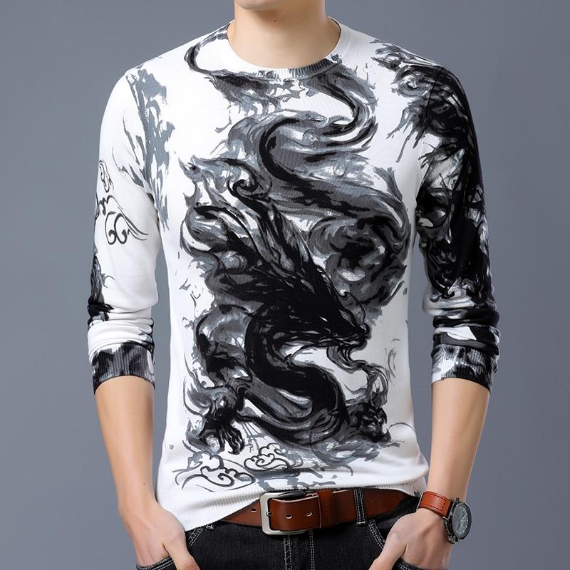 Cashmere Cotton Slim Fit Sweater Men Clothes 2020 Autumn Winter Fashion Dragon Pullover Mens Sweater Soft O Neck Jumper For Man
