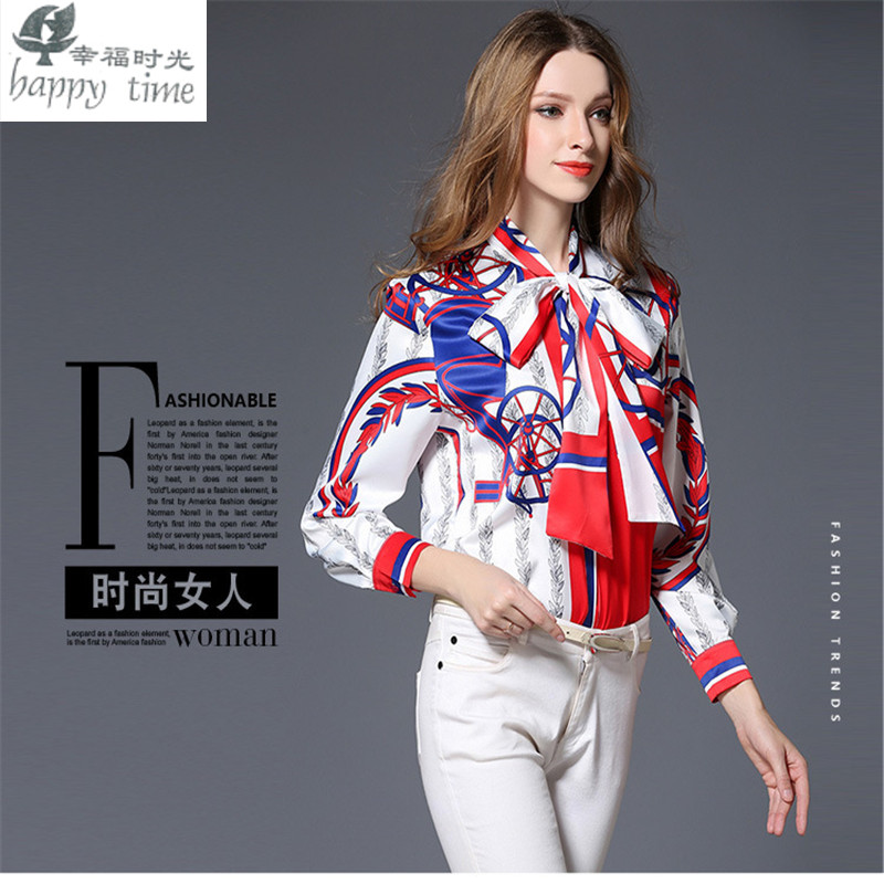 European Milan fashion Printing blouse Paris women Professional elegant classical Noble professional lacing shivering shirt