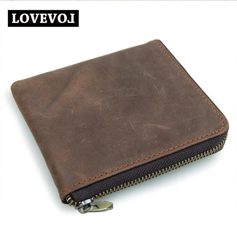 цена  Head Layer Cowhide Short Design Wallet Zipper Car Suture Coin Pocket Purse For Coins Vintage Brand Purse Men Brown Wallets 19X2  онлайн в 2017 году