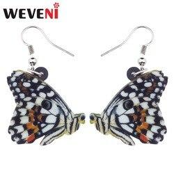 WEVENI Acrylic Papilio Demoleus Butterfly Insect Earrings Cute Dangle Drop Trendy Jewelry For Women Girls Gift Charms Wholesale