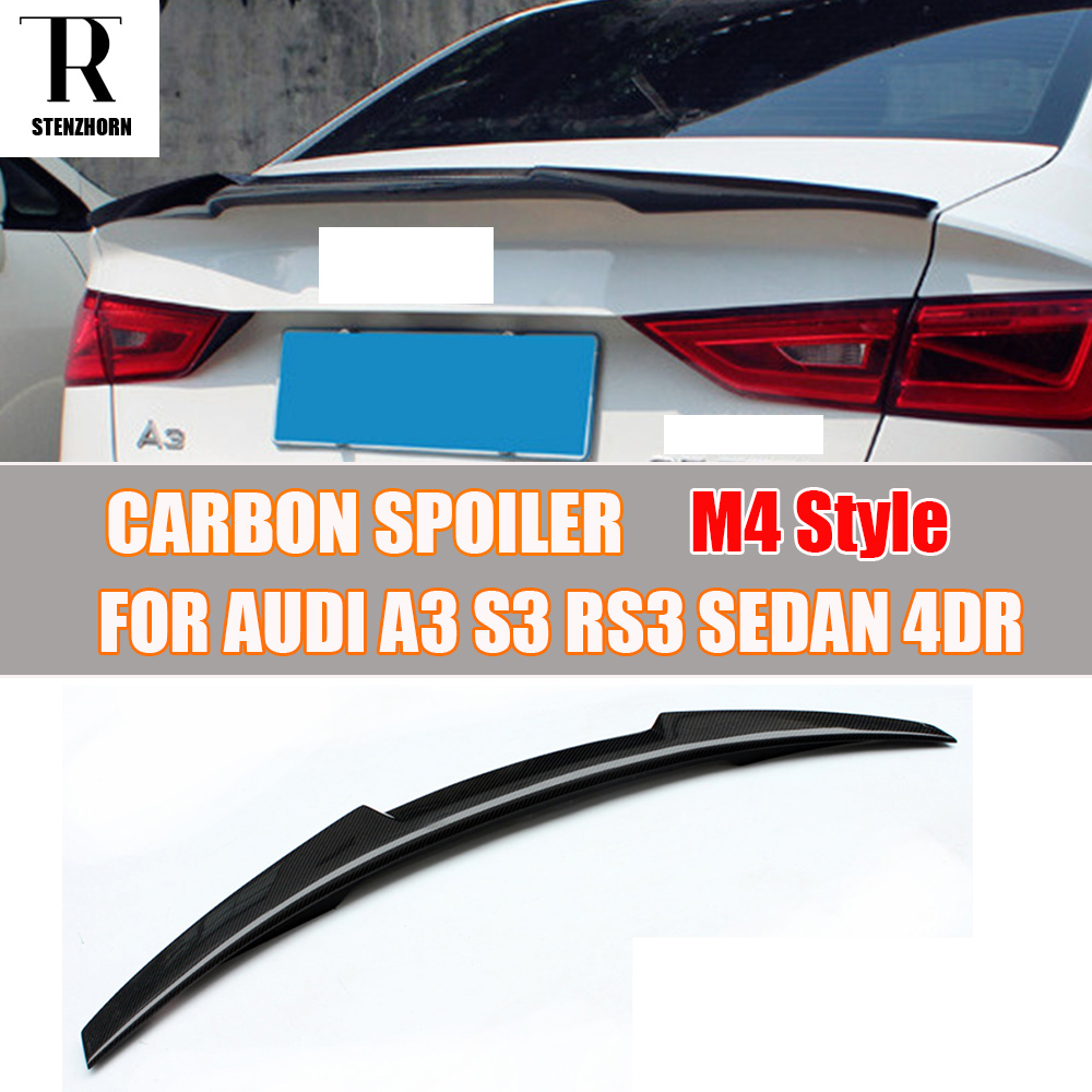 A3 S3 RS3 M4 Style Carbon Fiber Rear Trunk Wing Spoiler for Audi A3 S3 RS3 Sedan 4 Door 2014 - 2017 for mercedes w205 spoiler c class w205 c180 c200 c220 c250 c300 carbon fiber rear spoiler trunk wing 2014 2015 2016 c74 style
