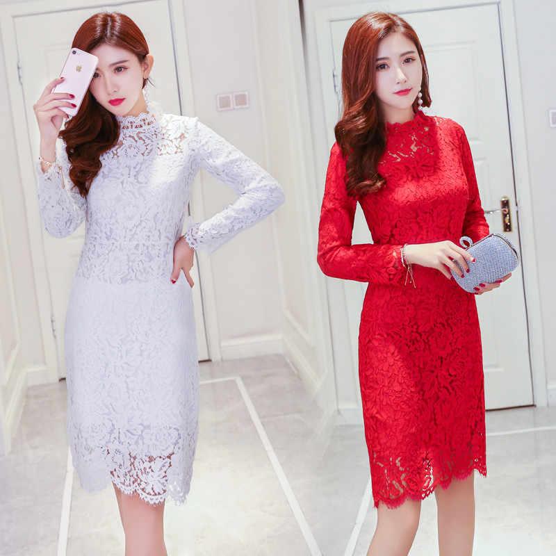 Женские Элегантные платья для свадебной вечеринки, сексуальные платья для ночного клуба, новинка, водолазка, длинный рукав, облегающее кружевное платье, Vestidos, высокое качество