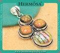 Fairy Charm Genuine Round Dichroic Glass Rainbow Murano Glass Multi-Stone Silver Vintage Necklace Pendant GM1666