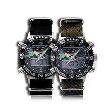 Холст случайный мужская высокого класса электронные часы военная военная форма завод точек водонепроницаемый спортивные бинарные часы часы