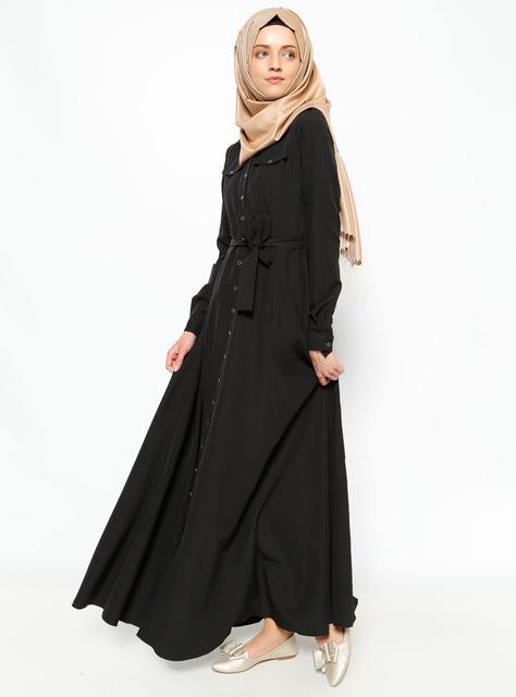2016 Nueva Llegada vestido largo Musulmán Islámica abayas negras para Las Mujeres Malasia abayas en Dubai Turco damas ropa de alta calidad