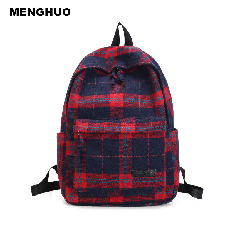 Menghuo Women bags Fashion Wool Plaid zipper Casual Backpacks Girls School Bag Female Travel bag backpack for college students menghuo casual backpacks embroidery girls school bag female backpack school shoulder bags teenage girls college student bag
